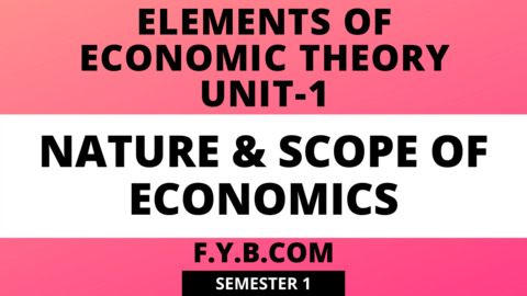 Unit 1 - Elements of Economic Theory