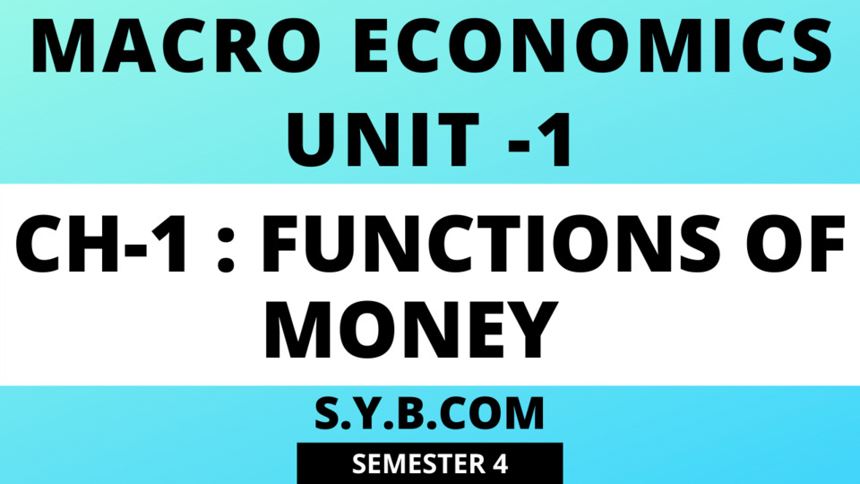 UNIT-1 Ch-1 Functions of Money