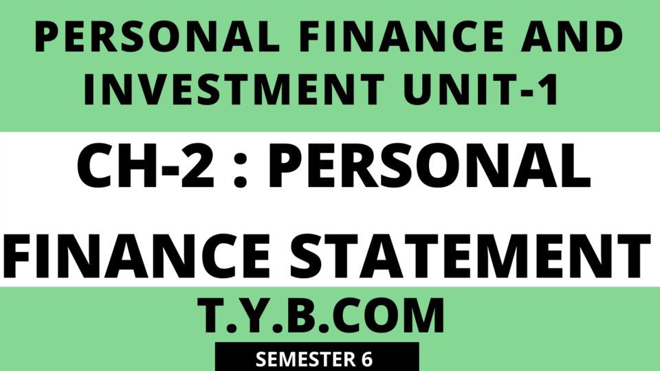 UNIT-1 CH-2 Personal Finance Statement