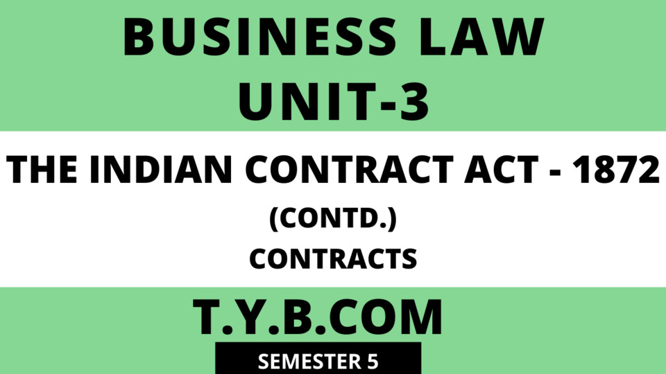 Unit-3 The Indian Contract Act-1872(Contracts)
