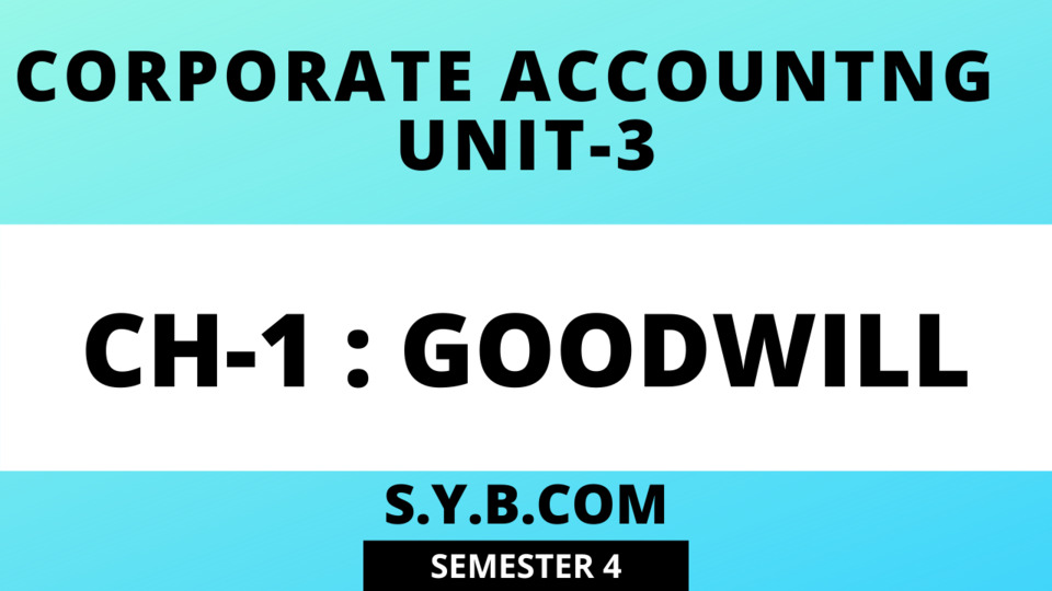 Unit-3 CH:1 Goodwill
