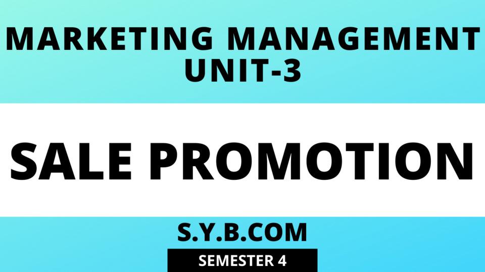 Unit-3 Sale Promotion