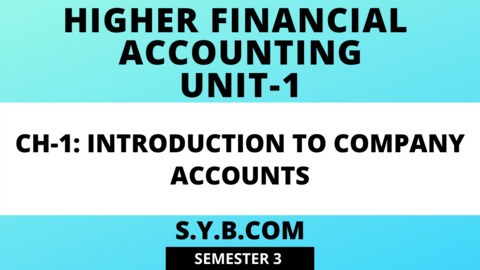 Unit-1 Ch-1 Introduction to Company Accounts