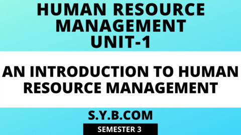 Unit-1 An Introduction to Human Resource Management