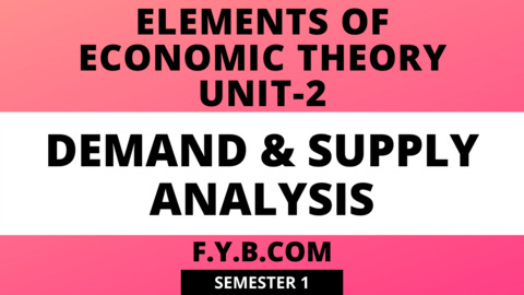 Unit-2 Demand & Supply Analysis
