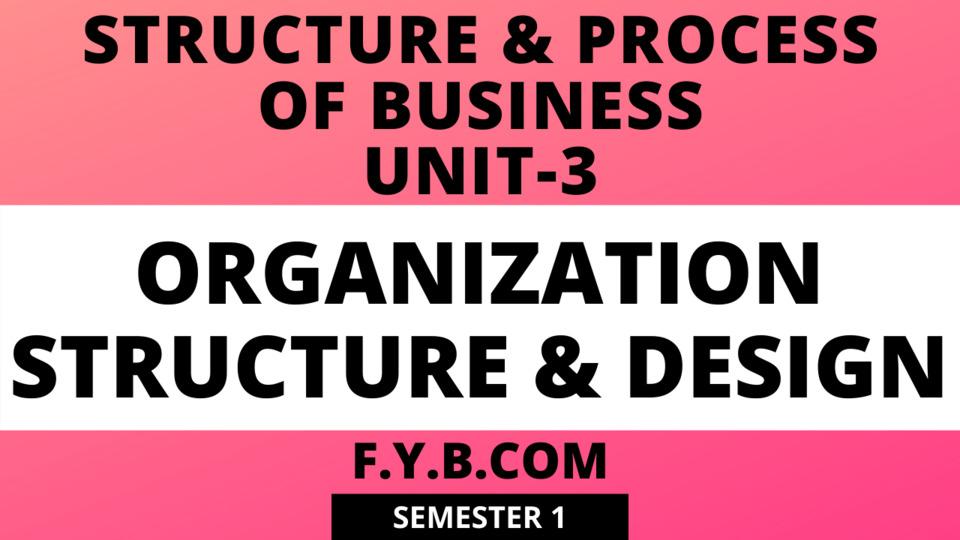 Unit-3 Organization Structure & Design